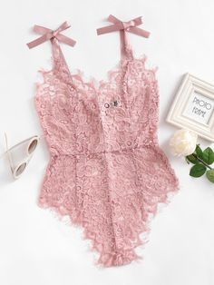 Ribbon Tie Shoulder See Though Floral Lace BodysuitFor Women-romwe