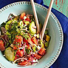 Tomatillo-Watermelon Salad From Better Homes and Gardens, ideas and improvement projects for your home and garden plus recipes and entertaining ideas.