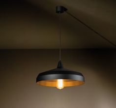 LUZIEN in Textured BLACK and black mainscord. Designer bulb CARET lamp. New suspended lighting fixture by TAL.