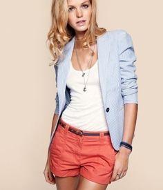 coral shorts, white tank and white/blue striped blazer