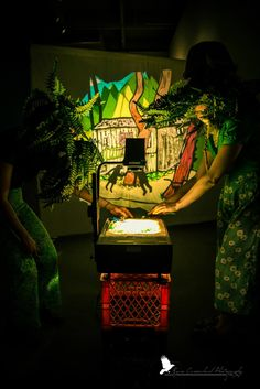 """good fronds playing with the overhead projector in Mind of a Snail's interactive installation at the Museum of Vancouver's spring costume party """"Where the Wild Things Were"""", April 2014. photo by Ryan Carmichael. (ferns are Candice Curlypaws and Ambrosia Bee of the DustyFlowerpot)"""