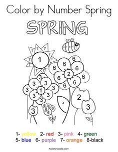 Color By Number Spring Coloring Page