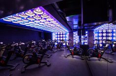 Core Collective: London's Hottest New Boutique Fitness Studio Gym Design, Fitness Design, Studio Design, Soundtrack, Spinning, Disco Licht, Cycling In London, Power Yoga, Gym Lighting
