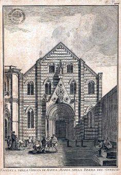Santa Maria di Brera, chiesa madre degli Umiliati. Stampa settecentesca. facciata demolita nel 1808, Pietro Gilardoni divide con una soletta le navate