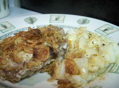 This dish is fantastic for pot luck dinners, having a few friends over or just spending the evening in with the kids. Skillet Pork Chops, Pork Chops And Potatoes, Pork Chop Dishes, Celery Soup, Boneless Pork Chops, 9x13 Baking Dish, Pot Luck, White Meat, Baking Recipes