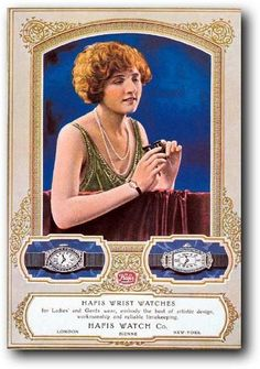 Vintage ads for Art Deco wristwatches