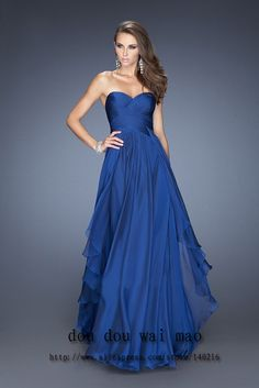 Hot Sale A-line Sweetheart Royal Blue Emerald Green Chiffon Long Wedding Wedding Party Dress 2014 Hot