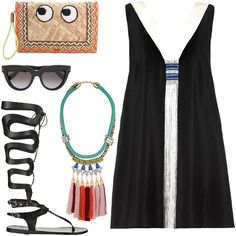 Spring Fashion: Topshop colorful rope and tassel necklace, Ancient Greek gladiator sandals, and Anya Hindmarch's kitsch straw clutch | Styloko.com