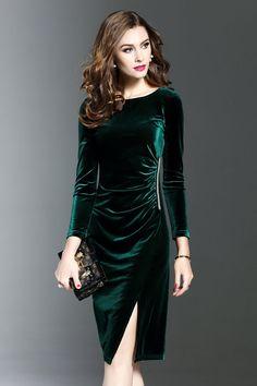 Women's Ladies Velvet V Neck Long Sleeve Slit Hem Party Sheath Dress Size 8-16 | eBay