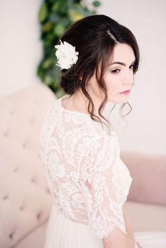 Chiffon flower headpiece - style 2010 by Tessa Kim #bridal #headpiece #wedding