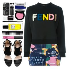 """#788 Maelle"" by blueberrylexie ❤ liked on Polyvore featuring Love Moschino, Fendi, NARS Cosmetics, Rodin, Illamasqua, GHD, Japonesque, Bobbi Brown Cosmetics, Casetify and Essie"