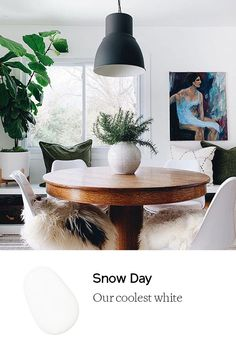 Snow Day is our coolest white paint color with just enough warmth to liven it up. Like a serene winter wonderland the morning after a first snowfall. Best White Paint, White Paint Colors, Wall Paint Colors, Paint Colors For Living Room, White Paints, Winter Wonderland, Dining Table, Touch