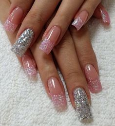 Long nail designs square, long square nails, toe designs, acrylic nail d French Manicure Acrylic Nails, Glitter Tip Nails, Gel Nails, French Manicures, Silver Nails, Glitter Acrylics, Silver Glitter, Dark Nails, Pink Manicure