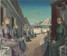 "From Tree Fitzpatrick ""The Village of the Mermaids"" a haunting painting by Paul Delvaux. Mysterious no? #NoMoreSilence #OutingTheMermaid #MerWOMENrock"