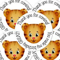 20 Daniel Tigers Neighborhood Round stickers by maryahdesigns Daniel Tiger Party, Daniel Tiger Birthday, 4th Birthday Parties, 1st Boy Birthday, Kid Parties, Birthday Ideas, Daniel Tiger's Neighborhood, First Birthdays, Round Stickers
