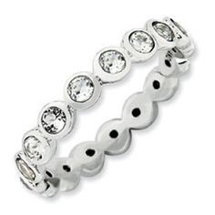 Sterling Silver Swarovski Elements April Birthstone Stackable Eternity Ring Available Exclusively at Gemologica.com