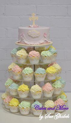 Christening cake and cupcake tower