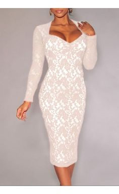 Lace Long Sleeves Padded Midi Dress $31.99