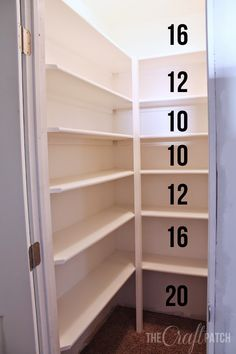 How to Build Pantry Shelving How to build strong pantry or walk-in closet shelves. Tips for how far apart to space the shelves too. Floor to ceiling storage! - Own Kitchen Pantry Pantry Room, Pantry Storage, Kitchen Storage, Pantry Shelves Diy, Pantry Diy, Small Pantry Closet, Build Shelves, Walk In Pantry, Closet Space
