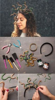 Halloween How to make a Medusa Tiara - Costume for Carnival Bras - A Guide For Single Fathers Bras h Medusa Halloween Costume, Halloween Inspo, Cute Halloween Costumes, Halloween Kostüm, Diy Halloween Decorations, Halloween Makeup, Costume Meduse, Tiara Diy, Maquillage Halloween