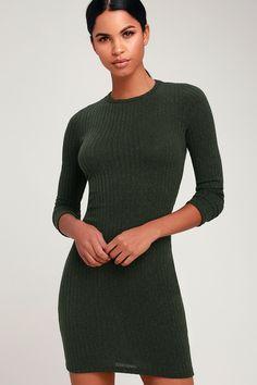 Put on Your Playlist Olive Green Long Sleeve Bodycon Dress 9de1b6efbfb1
