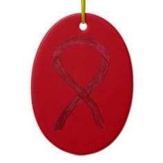 Burgundy Awareness Ribbon Holiday Art Ornaments