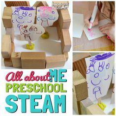 """Math activities for preschoolers don't always have to be worksheets. This preschool STEAM activity combines Math with Science, Art and Engineering. Previously, we have been exploring the preschool learning theme, """"All About Me"""", which is a great opportunity to connect learning skills to your preschooler's real world. It also allows the opportunity to share with …"""