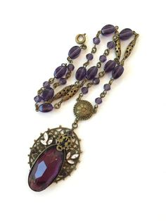 Vintage Czech Amethyst Glass Necklace 20s by AntiqueJewelryForFun