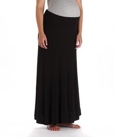 Loving this Black Mid-Belly Maternity Maxi Skirt on #zulily! #zulilyfinds