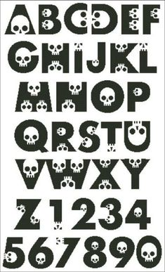 Embroidery Stitches Tutorial Skull Alphabet - PinoyStitch - Counted Cross Stitch Patterns of artist paintings, mini cross stitch, modern cross stitch. Stitcher Accessories and more. Cross Stitch Skull, Cross Stitch Letters, Mini Cross Stitch, Modern Cross Stitch, Counted Cross Stitch Patterns, Cross Stitch Embroidery, Cross Stitching, Cross Stitch Font, Embroidery Patterns