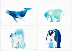 Print set of 4 arctic friends : Whale, penguin, polar bears : Prints of an original signed illustration by me. These are just a few in a