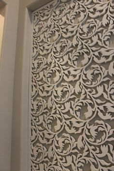 Custom laser cut wood panel www.casavilorainteriors.com