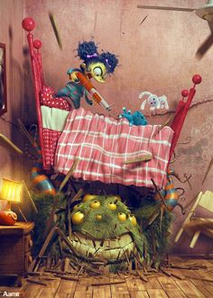 """""""You Picked the Wrooooong Bed, Monster"""" - 3D Art by Aamir (Original Illustration by Skottie Young) - What an ART"""