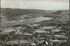 Oppland fylke Lillhammer utsikt mot Vingnesbrua og nordover i dalen. Utg Normann brukt 1950-tallet