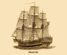"""Drawing of the convict transportation ship """"Neptune"""" that operated between England and Australia in 1789."""