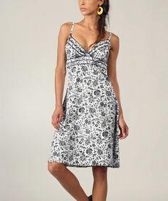 Look at this #zulilyfind! Black & White Floral Surplice Dress by Aller Simplement #zulilyfinds