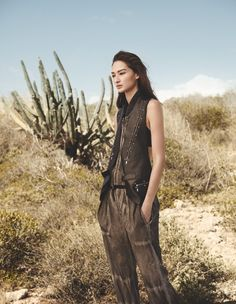 Bruna Tenorio poses in a Louis Vuitton vest and jumpsuit for Madame Germany Magazine April 2016