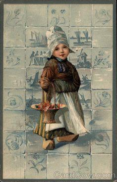 Dutch Girl with Basket of Poppies Dutch Children