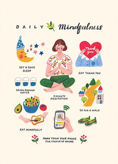 Daily Mindfulness - illustration print / mindful living poster, home decor, wall art Note To Self, Self Love, Yoga Bewegungen, Meditation, Self Care Activities, Coloured Pencils, Self Improvement Tips, Self Care Routine, Chronic Pain