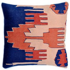 Blue and Peach Kilim pillows from @stacy @ LEIF - so good! #blue #peach #pillow