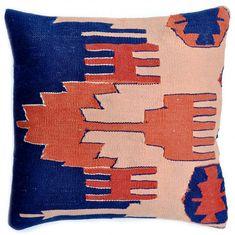 Blue and Peach Kilim pillows from @Stacy Stone @ LEIF - so good! #blue #peach #pillow