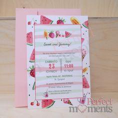 προσκλητήριο βάπτισης με καρπούζια παγωτά και φράουλες /120