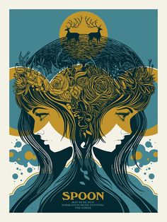 Screen Printed Gig Poster for Spoon performing at Sasquatch Music Festival, at…
