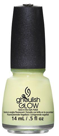 China Glaze Ghoulish Glow Nail Lacquer- need this for glow in the dark nails on Halloween Holiday Nail Designs, Holiday Nails, Glow Nails, Fun Nails, China Glaze Nail Polish, Gel Nail Colors, Dark Nails, Nail Polish Collection, Professional Nails