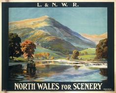 London and North Western Railway poster showing a Welsh lake and mountain. Artwork by A G Petherbridge Canvas Print Framed, Poster, Canvas Prints, Puzzles, Photo Gifts and Wall Art Retro Poster, A4 Poster, Kunst Poster, Posters Uk, Railway Posters, Westerns, British Travel, National Railway Museum, Nostalgia