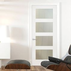 White shaker door with frosted glass for pantry. Make it a swinging door and it is perfect.
