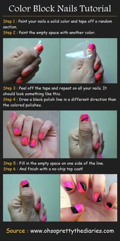 Color Block Nails Tutorial | Pinterest Tutorials