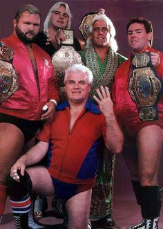 The Four Horsemen - Ric Flair, Arn Anderson, Tully Blanchard and Barry Windham with J.J Dillon