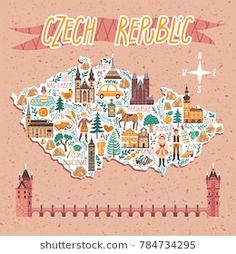 Find Vector Stylized Map Czech Republic Travel stock images in HD and millions of other royalty-free stock photos, illustrations and vectors in the Shutterstock collection. Map Design, Book Design, Design City, Travel Design, Republic Symbol, Art Carte, Map Painting, Country Maps, Travel Illustration
