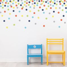 121 fun multi-color dot confetti fabric wall decals that are removable and reusable wall stickers. Our polka dot wall stickers come in a navy, green ,orange, gray, yellow and blue color way! We love the confetti look above with the dots raining down the wall. This is a smaller version of our 4 dots. Great for kids rooms, unisex nurseries or apartments as there is no damage to walls! Dimensions: Each dot is 2 inches in diameter. 6 different colors in all Related Items: 4 dots in the same c...